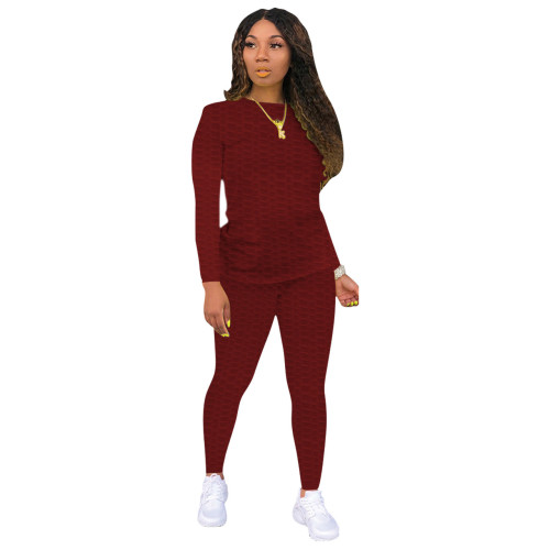 Dark red Sexy solid color skinny waffle check two-piece suit