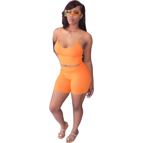 Orange Pure color sling tight-fitting two-piece suit