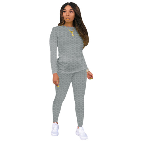 Gray Sexy solid color skinny waffle check two-piece suit