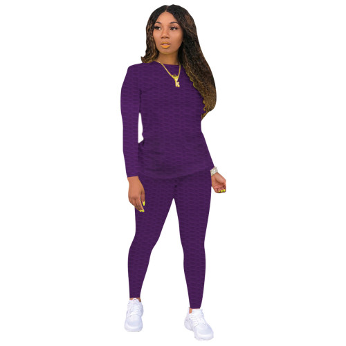 Purple Sexy solid color skinny waffle check two-piece suit