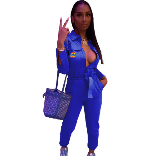 Blue  Women's long-sleeved zipper overalls trousers with belt