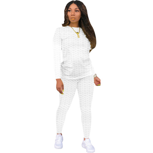 White Sexy solid color skinny waffle check two-piece suit