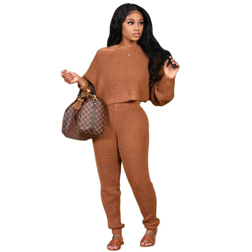 Coffee Two-piece solid color bat sleeve sweater