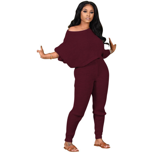 Dark red Two-piece solid color bat sleeve sweater