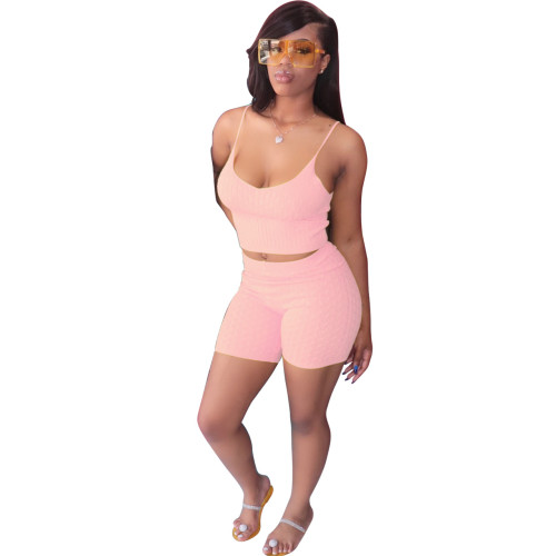 Pink Pure color sling tight-fitting two-piece suit