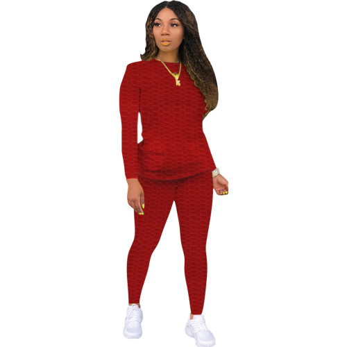 Red Sexy solid color skinny waffle check two-piece suit