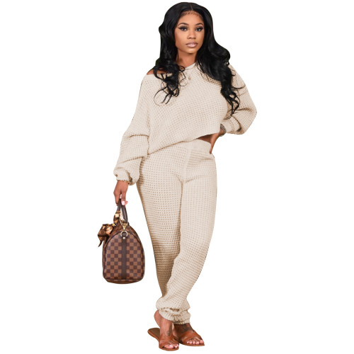 apricot Two-piece solid color bat sleeve sweater