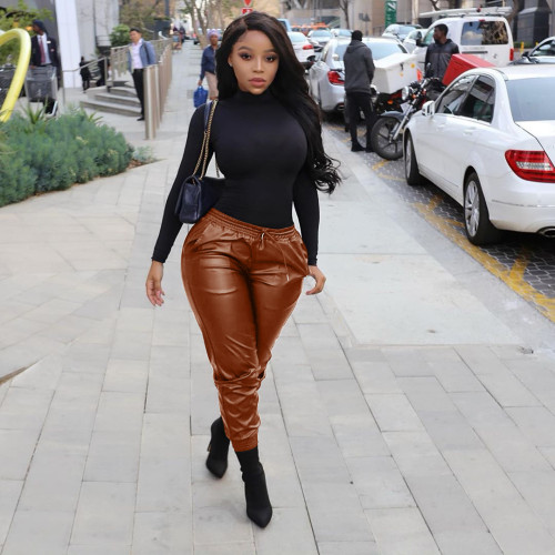 Brown Sexy women's all-match leather pants
