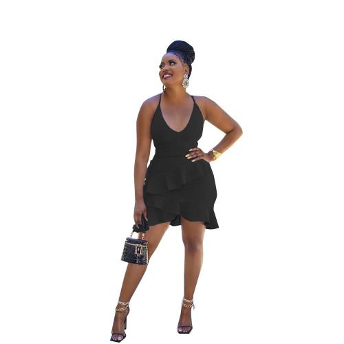 Black  Irregular sexy ruffled halterneck halter dress
