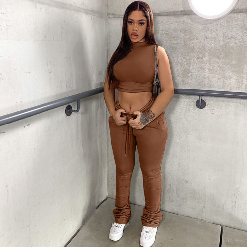 Dark brown Two-piece sports and leisure tight-fitting waist top pile pile pants