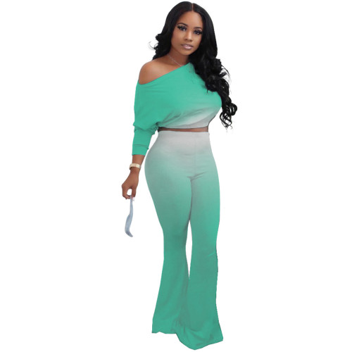 Light green Fashion sexy oblique shoulder gradient two-piece suit