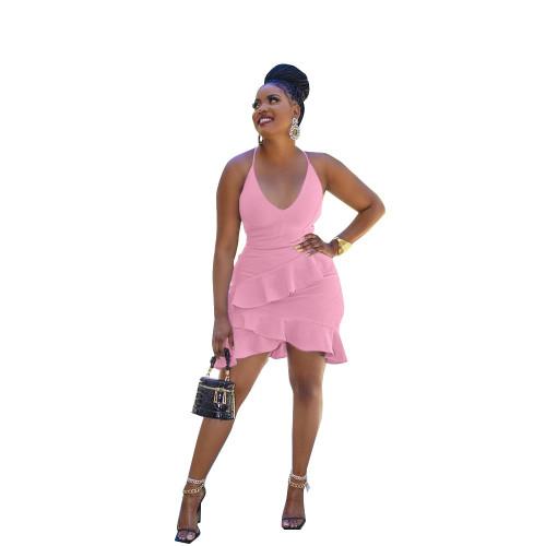 Pink  Irregular sexy ruffled halterneck halter dress
