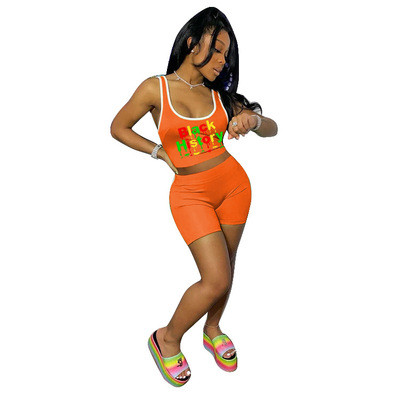 Orange  Letter printed sports and leisure two-piece suit