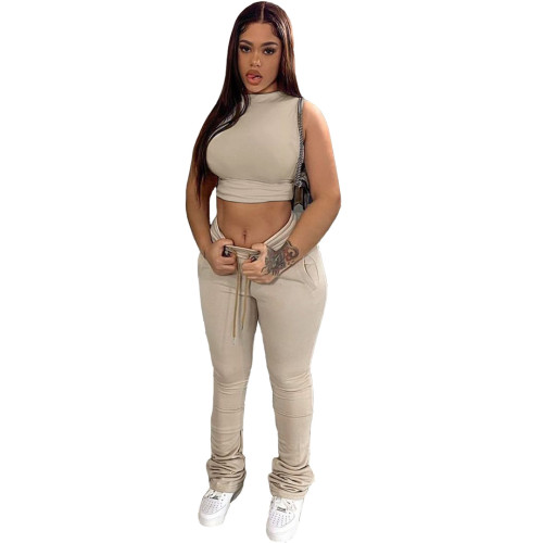 Khaki Two-piece sports and leisure tight-fitting waist top pile pile pants