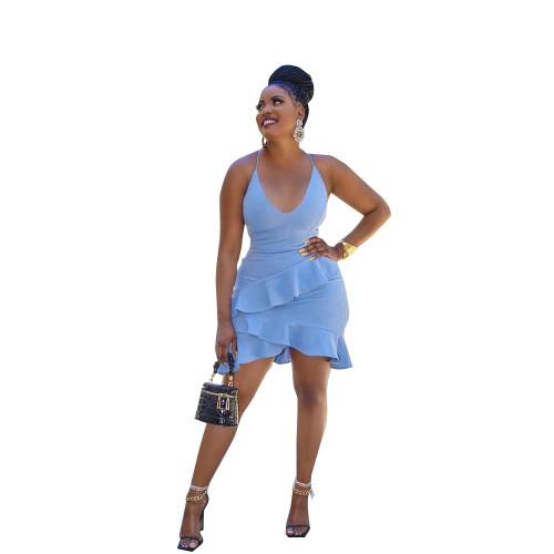 Blue   Irregular sexy ruffled halterneck halter dress