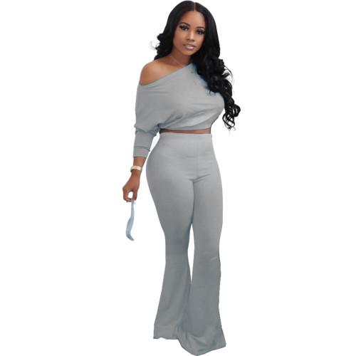 Gray Fashion sexy oblique shoulder gradient two-piece suit