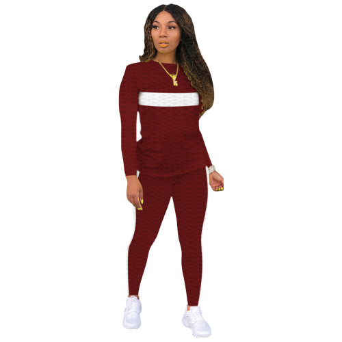 Dark red Two-piece white striped skinny waffle check