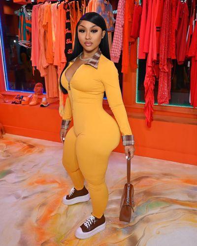 Orange Personalized sexy color block jumpsuit