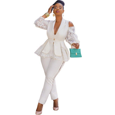 Air layer stitching lace business wear uniform casual suit