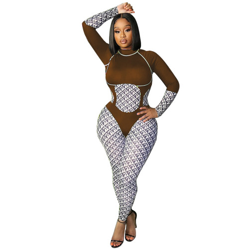 Brown Casual fashion women's printed jumpsuit
