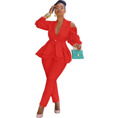 Red Air layer stitching lace business wear uniform casual suit
