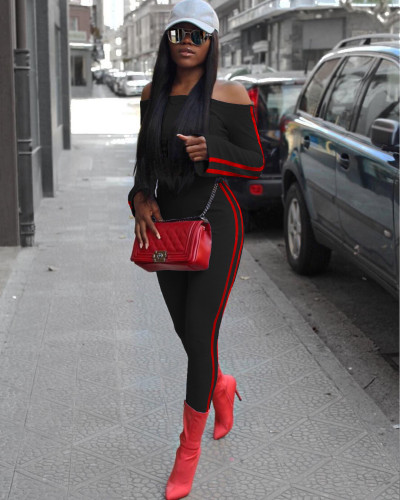 Black Fashion casual solid color one-shoulder micro-flared cuffs Slim autumn and winter long two-piece suit