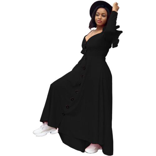 Black Sexy casual ruffled large swing dress loose long sleeves long shoulder strap dress