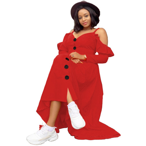 Red Sexy casual ruffled large swing dress loose long sleeves long shoulder strap dress