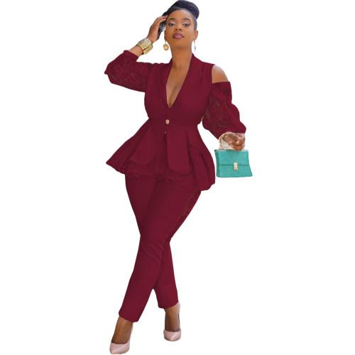 Claret Air layer stitching lace business wear uniform casual suit