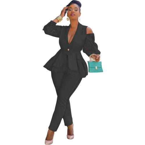 Black Air layer stitching lace business wear uniform casual suit