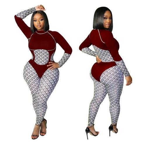 Claret Casual fashion women's printed jumpsuit
