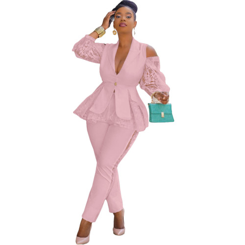 Pink Air layer stitching lace business wear uniform casual suit