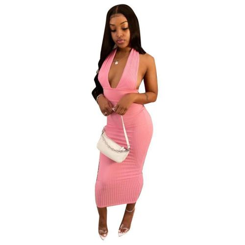 Pink    Dakeng strip fabric hanging neck solid color dress