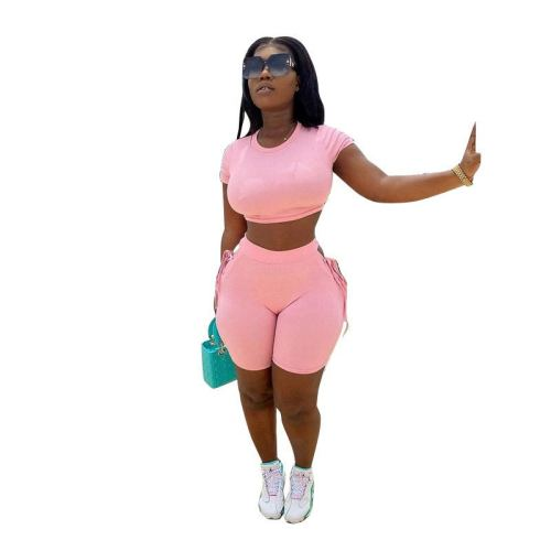 Pink  Tether solid color sports and leisure two-piece suit