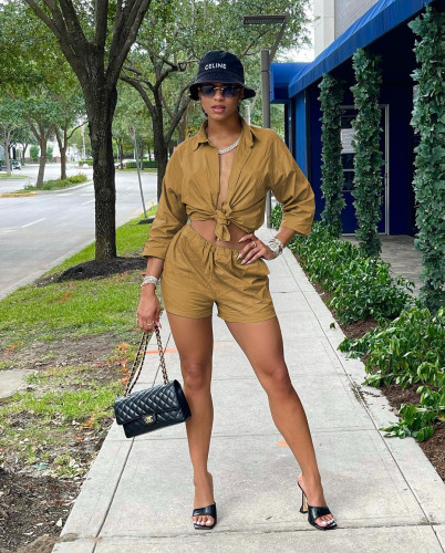 Brown Fashion casual solid color shorts shirt two-piece suit
