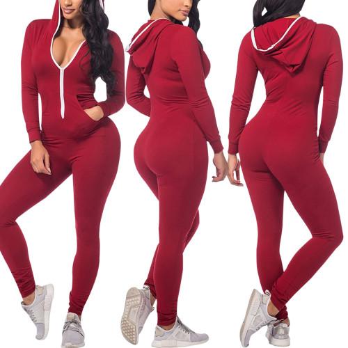 Claret  Fashion solid color hooded slim fit women's jumpsuit