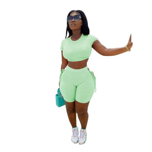 Green  Tether solid color sports and leisure two-piece suit