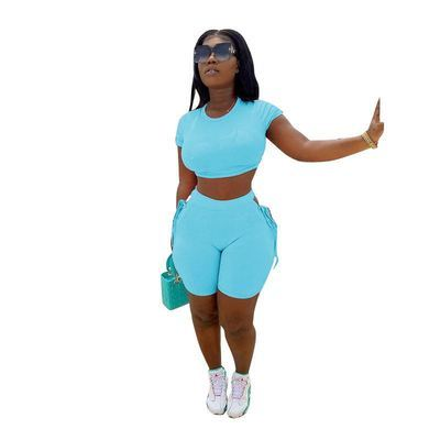 Sky  blue  Tether solid color sports and leisure two-piece suit