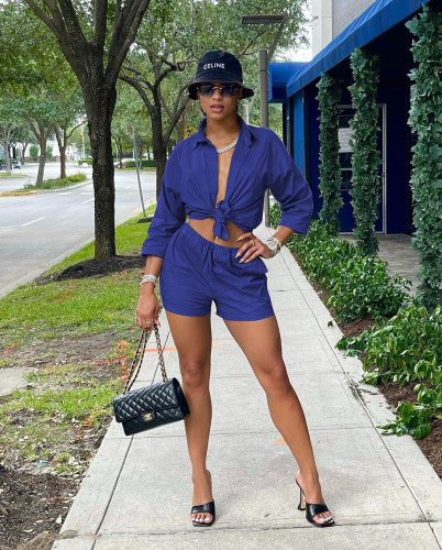 Bule Fashion casual solid color shorts shirt two-piece suit
