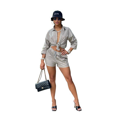 Fashion casual solid color shorts shirt two-piece suit