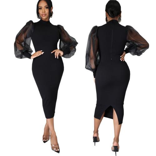 Black Sexy fashion solid color women's slim dress