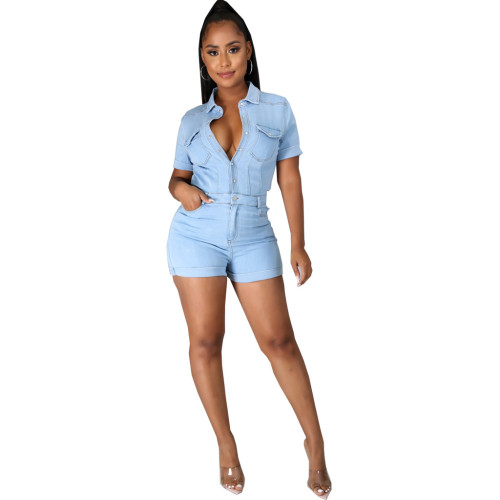 Light bule Fashion denim girl slim fit jumpsuit
