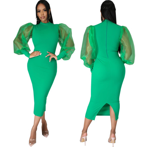 Green Sexy fashion solid color women's slim dress