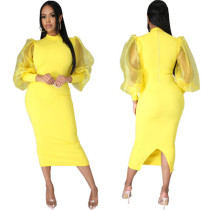 Sexy fashion solid color women's slim dress