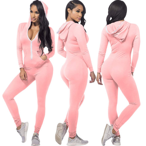Pink Fashion solid color hooded slim fit women's jumpsuit