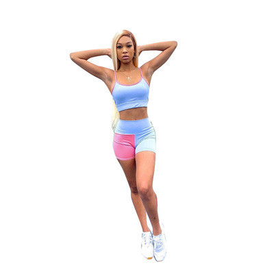 Red    Sling contrast printing two-piece leisure sports