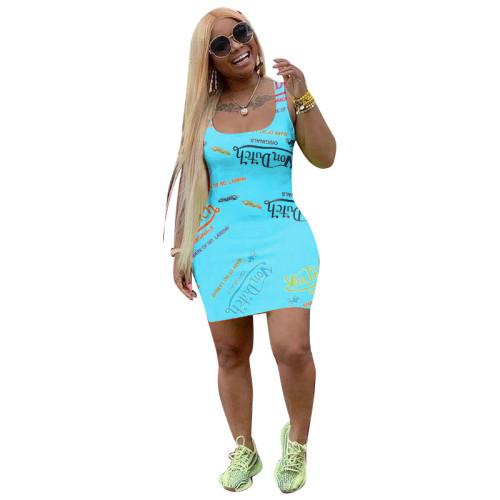 Sky blue   Female print fashion casual dress