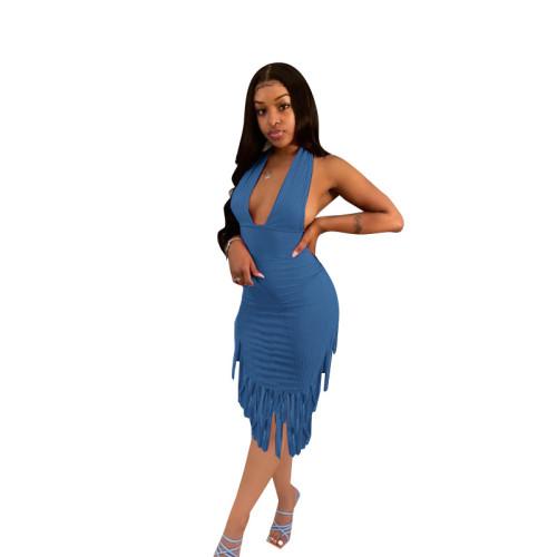Blue   Halter Fringe Halter Dress