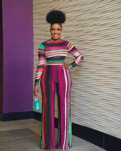 Women's fashion loose multicolor casual two-piece suit