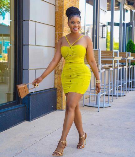 Fashion solid color suspender halter dress